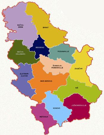 regioni srbije karta Regioni Srbije   Regions of Serbia regioni srbije karta